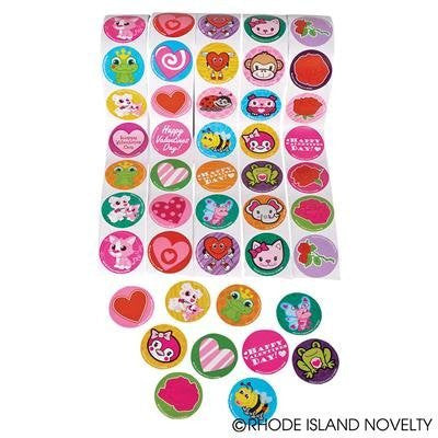"5 Rolls ~ Valentine Stickers ~ 100 Stickers Per Roll ~ 500 Stickers Total ~ Approx. 1.5"" ~ New / Shrink-wrapped ~ Hearts, Animals, More - Funzalo Toys"
