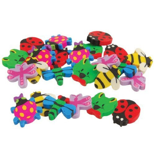 Lot Of 24 Assorted Insect Bug And Animal Theme Erasers - Funzalo Toys