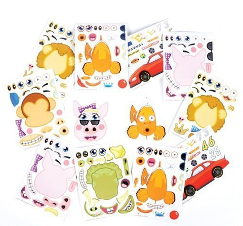 ~ 96 ~ Assorted Make-an- Animal / Race Car / Tooth Sticker Sheets ~ New - Funzalo Toys