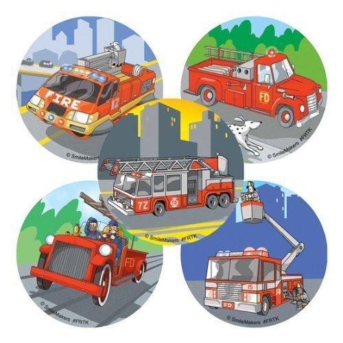 100 - Fire Trucks Stickers - Funzalo Toys