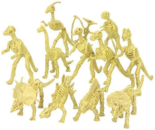 "Assorted Dinosaur Fossil Skeleton 5-6"" Figures, 12-Piece - Funzalo Toys"