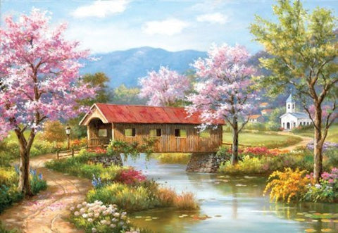 A Covered Bridge in Spring a 2000-Piece Jigsaw Puzzle by Sunsout Inc. - Funzalo Toys