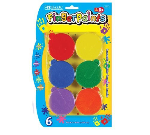 Bazic Washable Finger Paint, 40 ml, Assorted Colors - Funzalo Toys