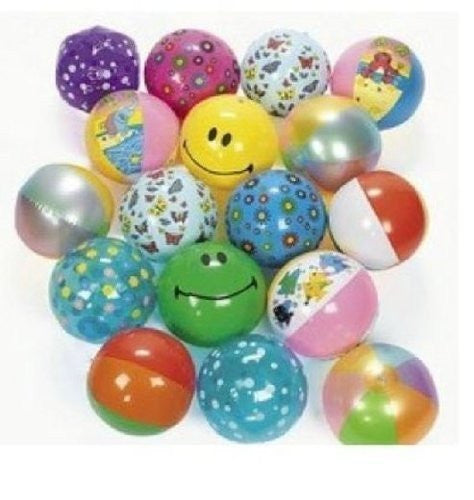 Inflatable Beach Ball Assortment (25 PIECES) - BULK - Funzalo Toys
