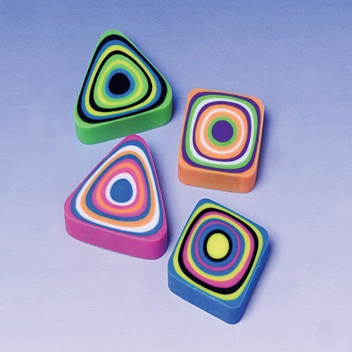 Lot Of 12 Assorted Swirl Design Mini Erasers - Funzalo Toys