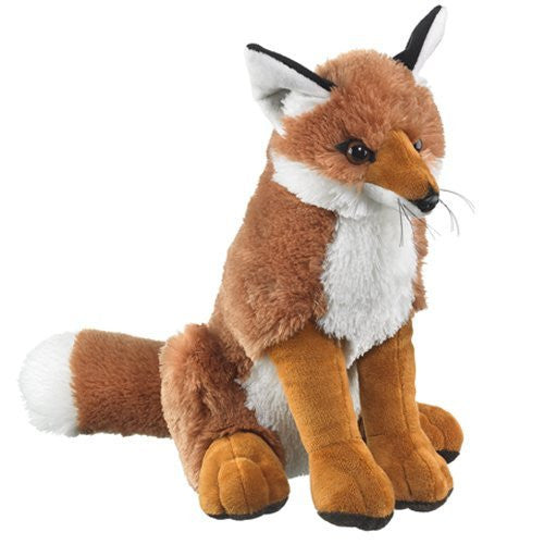 "Red Fox Sitting Plush 16"" H By Wildlife Artists - Funzalo Toys"