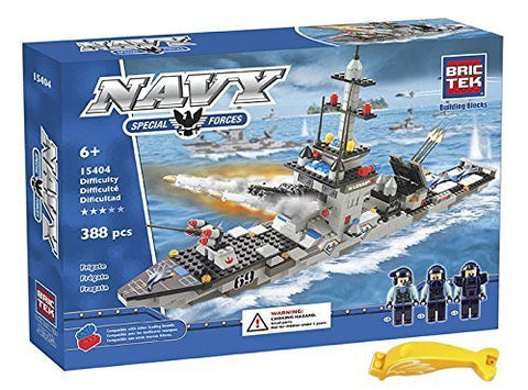 BRICTEK 15404 Navy Frigate Building Blocks Set 388pcs (Compatible with Legos) with Brick Remover - Funzalo Toys