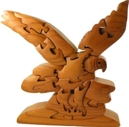 8 Inch Wooden 3D Bald Eagle Animal Brain Teaser Puzzle, Dark Brown - Funzalo Toys