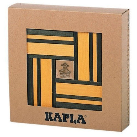 Kapla Green/Yellow Dual Color Wooden Building Set with Art Book - Funzalo Toys