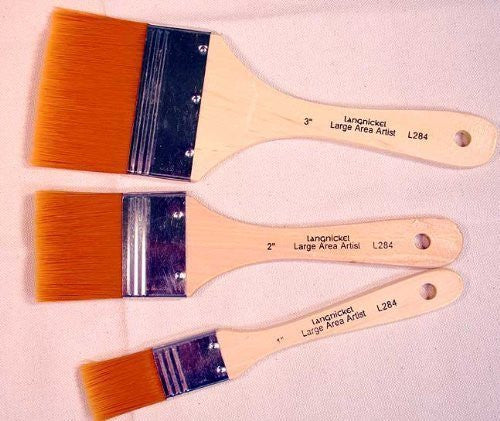 3 Large Area Gold Taklon Paint Brushes -Great for Acrylics, Stains & More - Funzalo Toys