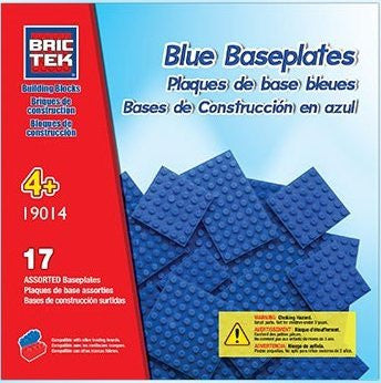 Brictek Base Plates Multi Sizes Blue- 17 pcs - Funzalo Toys