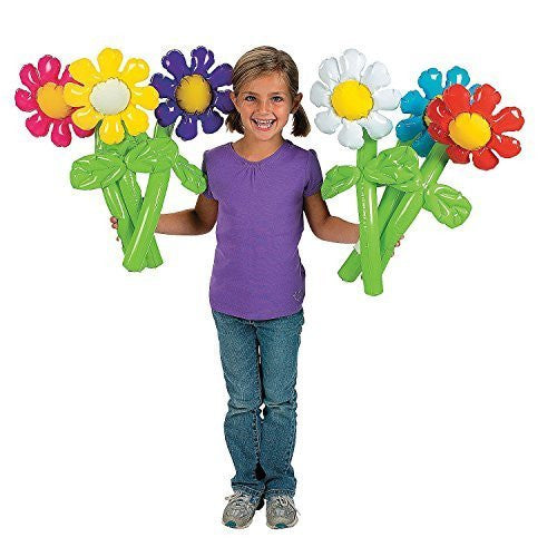 "Fun Express Inflatable Flowers Novelty (12 Pack), 24"", Pink/Yellow/Purple/White/Blue/Red - Funzalo Toys"