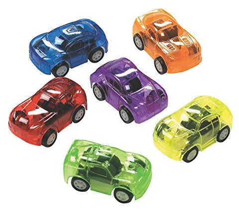 12 Plastic Transparent Pull Back Toy Cars - Funzalo Toys