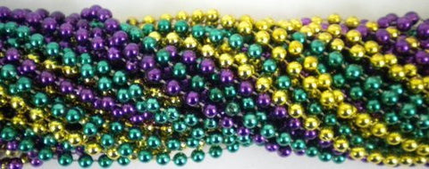 33 inch 07mm Round Metallic Purple Gold and Green Mardi Gras Beads - 6 Dozen (72 necklaces) - Funzalo Toys