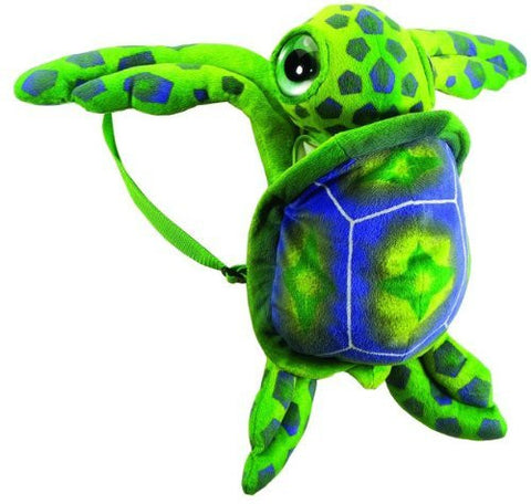 "17"" Big Eye Green Sea Turtle Travel Backpack Buddies Stuffed Bookbag by Fiesta Toys - Funzalo Toys"