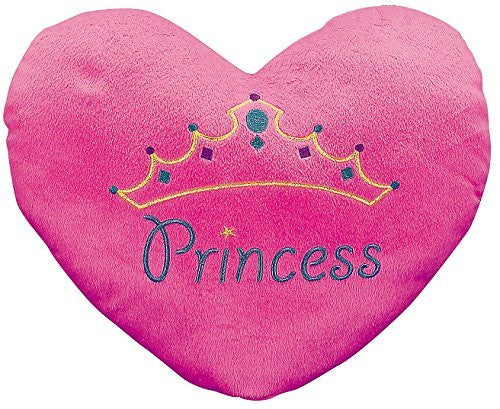 """Princess"" Heart Pillow (with the Princess Embroiding) 13 1/2"" X 11"". Plush. - Funzalo Toys"