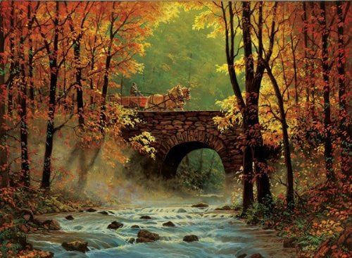 Autumn Bridge a 1500-Piece Jigsaw Puzzle by Sunsout Inc. - Funzalo Toys
