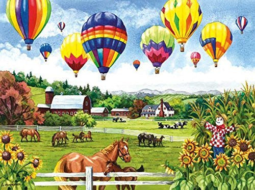 Balloons Over Fields a 500-Piece Jigsaw Puzzle by Sunsout Inc. - Funzalo Toys