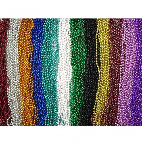 "144 Piece ~ Beaded Necklace Assortment ~ 33"" ~ Assorted Colors ~ New ~ Mardi Gras, Party Favors - Funzalo Toys"