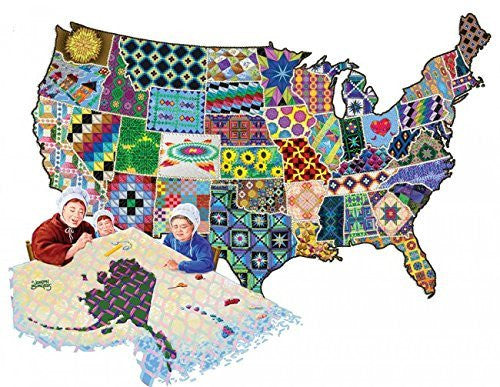 An American Quilt - 600 Piece Shaped Jigsaw Puzzle By Sunsout Inc. - Funzalo Toys