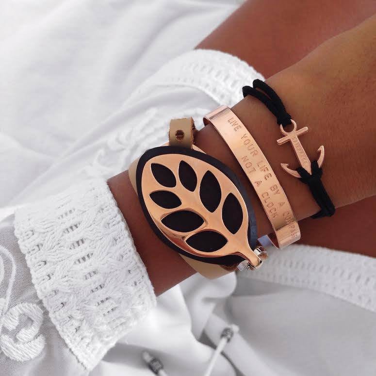 Rose Gold Black Anchor Bracelet inspiration women