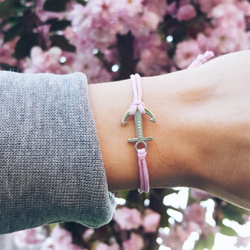 Soft pink anchor bracelet inspiration women