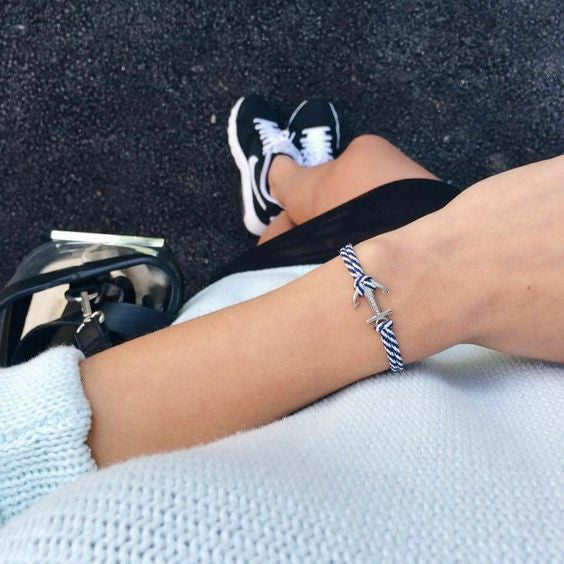 Blue-white anchor bracelet inspiration women