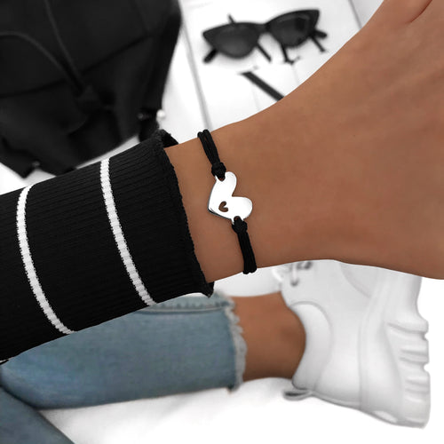 Double Heart Black Bracelet