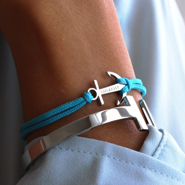 Aqua Blue Anchor Bracelet