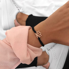 Rose Gold Lotus Black Bracelet