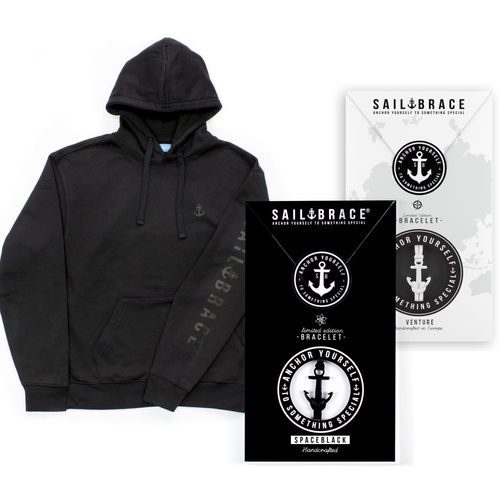 Men's All Black hoodie + White Venture and Coal Bracelet pack