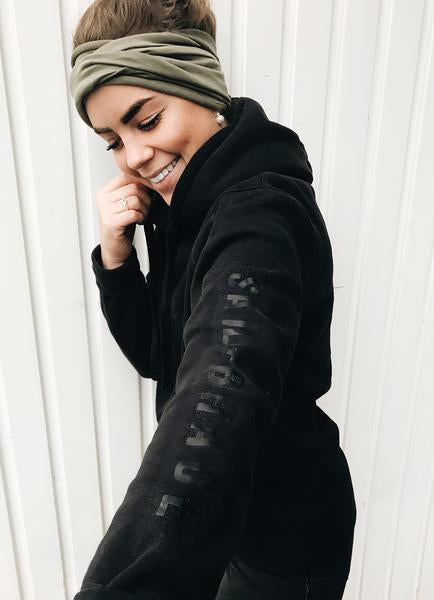 Women's All Black hoodie + White Venture and Coal Bracelet pack