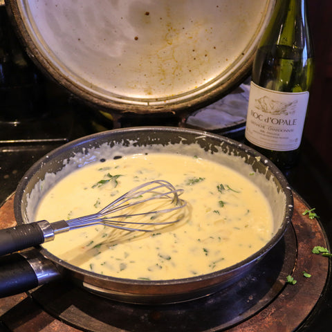 creamy white wine rue