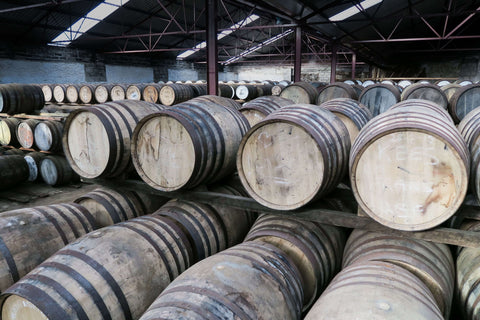 Thousands of whisky barrels at the Old Pulteney distillery warehouse