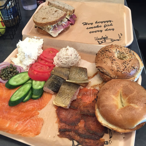 Wexlers Deli smoked fish platter bagels cream cheese lox pastrami lox