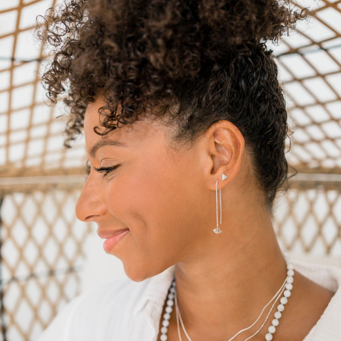 Tiny Stud Earrinngs - Gold Moon and Star Studs - Blooming Lotus Jewelry