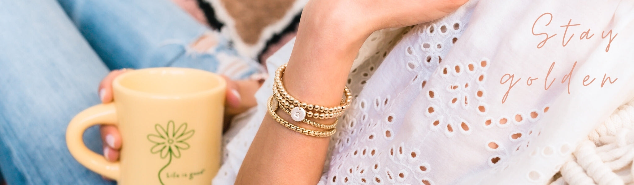 Gold Beaded Bracelets - Meaningful Jewelry - Gifts for Her - Initial Disc - Blooming Lotus Jewelry