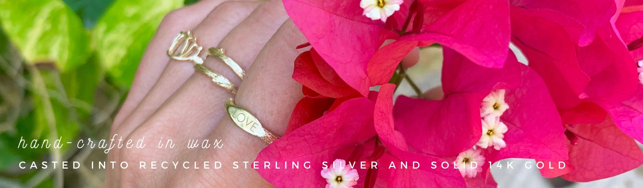 Personalized Gold Mantra Signet Ring Pink Flowers