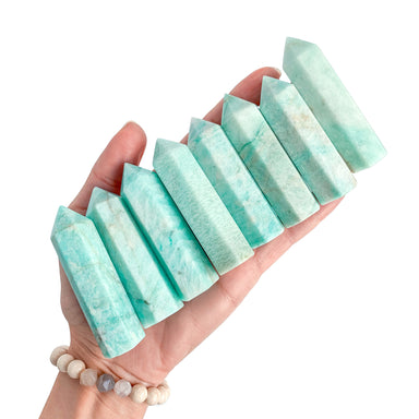 Amazonite Tower - crystal shop - in hand - Blooming Lotus Jewelry