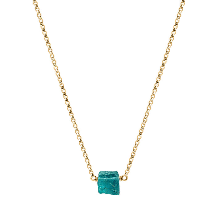Raw Apatite Crystal Necklace Gold Chain Blooming Lotus Jewelry