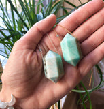 Double Terminated Amazonite Point (gold) - Blooming Lotus Jewelry