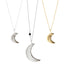 Luna Crescent Moon Necklaces Small Large Sterling Gold Blooming Lotus Jewelry