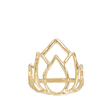 Gold large Blooming Lotus Ring yoga jewelry - Blooming Lotus Jewelry