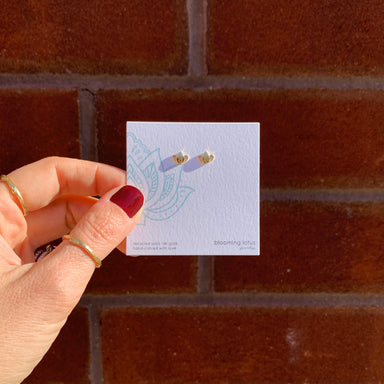 Blooming Lotus Studs gold on jewelry card Blooming Lotus Jewelry