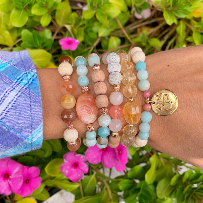 Gemstone Bracelets - Om Bracelet - Blooming Lotus Jewelry