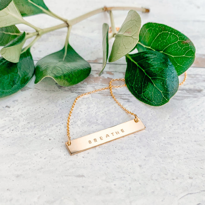 Breathe Mantra Bar Necklace gold personalized with Breathe tiny capital letters - Blooming Lotus Jewelry