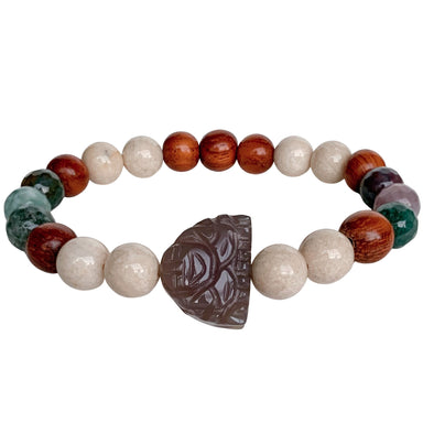 Buddha Bracelet | Riverstone, Fancy Jasper, Bayong Wood
