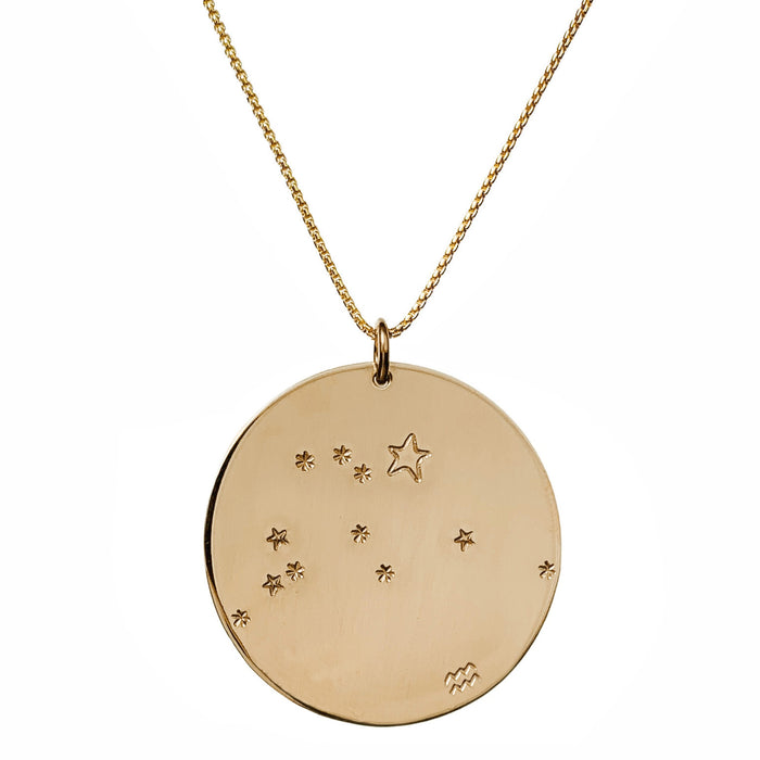 Constellation Zodiac Necklace Aquarius - Gold - large disc - personalized - Blooming Lotus Jewelry