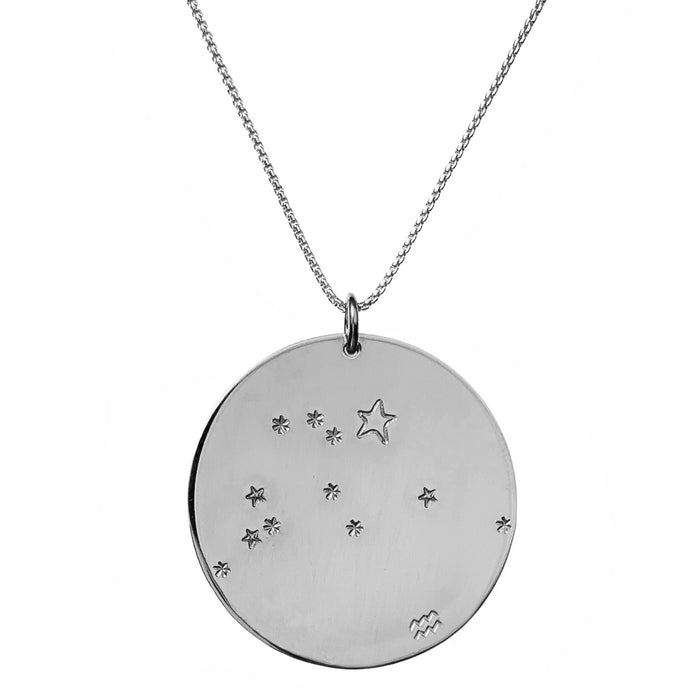 Constellation Zodiac Necklace Aquarius - Silver - large disc - personalized - Blooming Lotus Jewelry