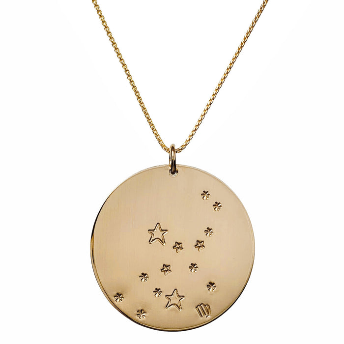 Constellation Zodiac Necklace Virgo - Gold - large disc - personalized - Blooming Lotus Jewelry